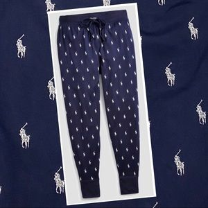 Polo Ralph Lauren lounge jogger pants in navy with print logo men's size large